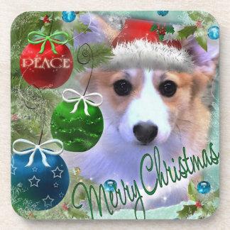 Dessous-de-verre Chiot de corgi de Joyeux Noël