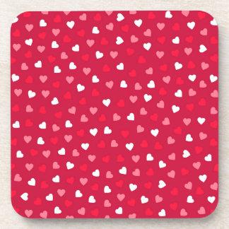 Dessous-de-verre Coeurs minuscules de Valentine dans le rose blanc