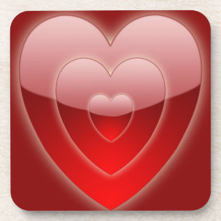 Dessous de verre concentriques de liège de coeurs sous-bock