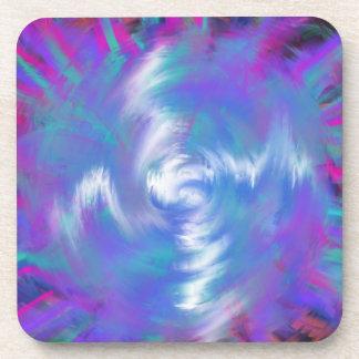 Dessous-de-verre Conception en spirale rose bleue d'art abstrait