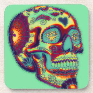 Dessous-de-verre Crâne décoré coloré sur le vert