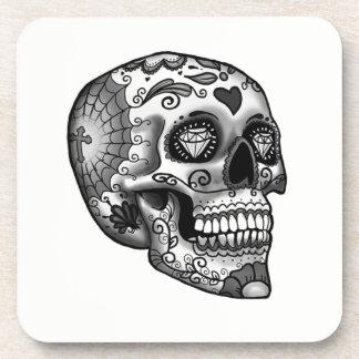 Dessous-de-verre Crâne décoré noir et blanc