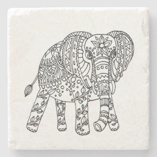 Dessous de verre de griffonnage d'éléphant dessous-de-verre en pierre