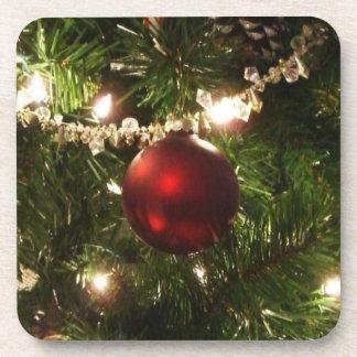 Dessous-de-verre De Noël de l'arbre I de vacances vert et rouge