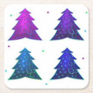 Dessous de verre de papier colorés d'arbres de dessous-de-verre carré en papier