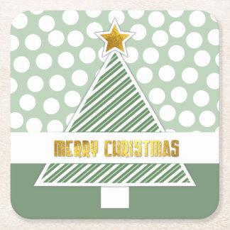 Dessous de verre de papier d'arbre de Noël vert et Dessous-de-verre Carré En Papier