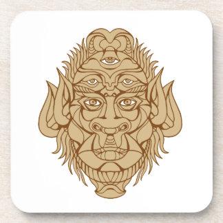 Dessous-de-verre dessin Cinq-eyed de tête de monstre