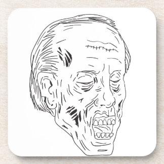 Dessous-de-verre Dessin fermé de yeux principaux de zombi