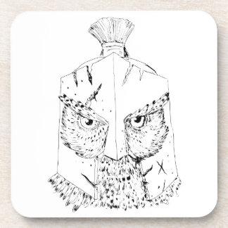 Dessous-de-verre Dessin spartiate de casque de hibou à cornes