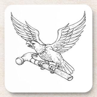 Dessous-de-verre Eagle saisissant le dessin de marteau