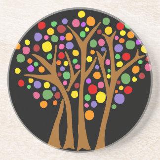 Dessous De Verre En Grès Abrégé sur coloré nature d'arbres