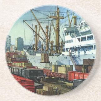 Dessous De Verre En Grès Affaires vintages, transport accouplé de cargo