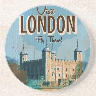Dessous De Verre En Grès Affiche vintage de voyage de Londres