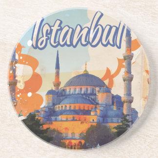 Dessous De Verre En Grès Affiche vintage de voyage d'Istanbul