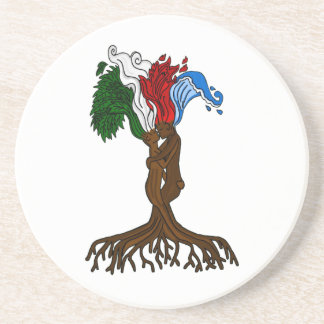 Dessous De Verre En Grès Amants élémentaires d'arbre
