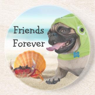 Dessous De Verre En Grès Amis pour toujours : Crabe + Carlin de tortue