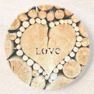 Dessous De Verre En Grès Amour, coeur, romance, mosaïque en bois