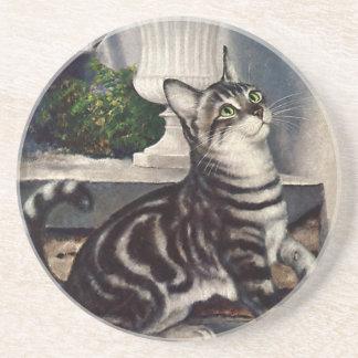 Dessous De Verre En Grès Animaux vintages, chat tigré mignon et papillon