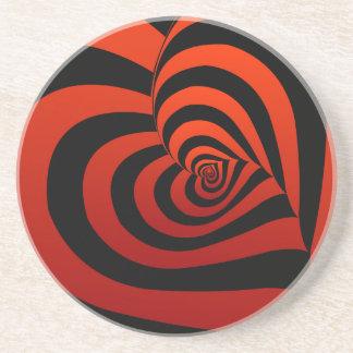 Dessous De Verre En Grès arrière - plan avec les coeurs rouges