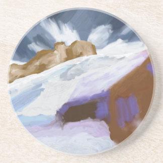 Dessous De Verre En Grès Art de montagnes d'hiver