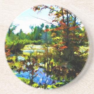 Dessous De Verre En Grès Art de paysage d'automne