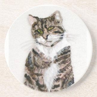 Dessous De Verre En Grès Art mignon de chat tigré