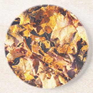 Dessous De Verre En Grès Art tombé d'aquarelle d'hiver d'automne de feuille
