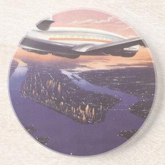 Dessous De Verre En Grès Avion vintage au-dessus du fleuve Hudson, New York