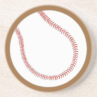 Dessous De Verre En Grès Base-ball blanc rouge fait sur commande sur des