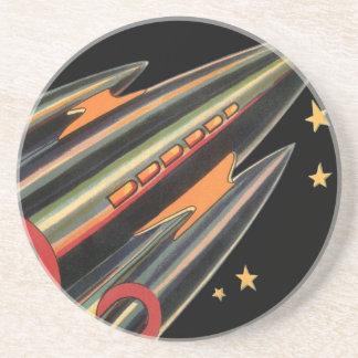 Dessous De Verre En Grès Bateau vintage de Rocket de la science-fiction par