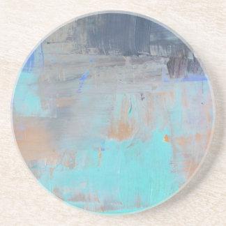 Dessous De Verre En Grès Bleus Painterly - horizontaux