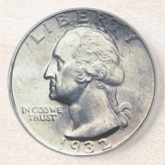 Dessous De Verre En Grès Caboteur d'argent de quart de dollar