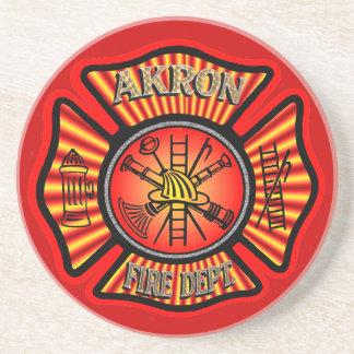 Dessous De Verre En Grès Caboteur de corps de sapeurs-pompiers d'Akron Ohio
