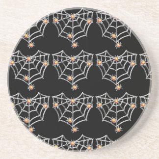 Dessous De Verre En Grès Caboteur de toile d'araignée de Halloween (noir)
