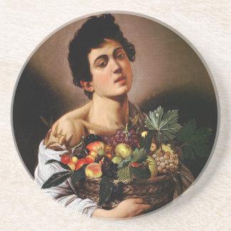 Dessous De Verre En Grès Caravaggio - garçon avec un panier d'illustration