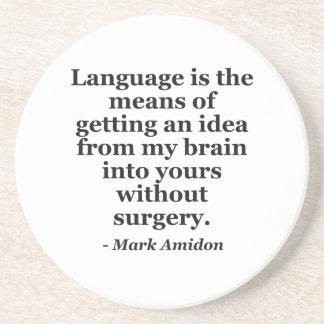 Dessous De Verre En Grès Cerveau d'idée de langue sans citation de