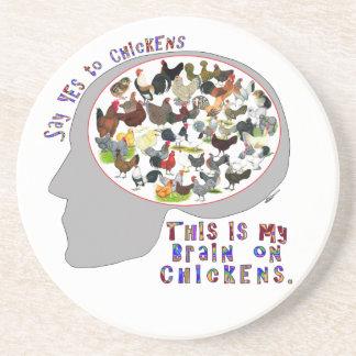 Dessous De Verre En Grès Cerveau sur des poulets