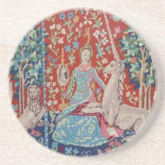 Dessous De Verre En Grès CH Madame et les caboteurs de tapisserie de licorn