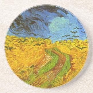 Dessous De Verre En Grès Champ de blé de Van Gogh avec des corneilles,