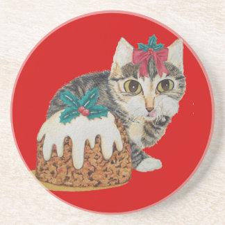 Dessous De Verre En Grès chat tigré gris de chaton mignon léchant Noël de