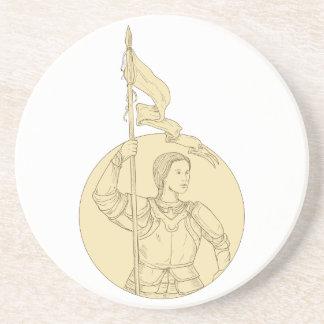 Dessous De Verre En Grès Chevalier féminin tenant le dessin de cercle de