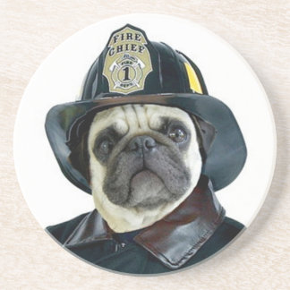 Dessous De Verre En Grès Chien de carlin de pompier