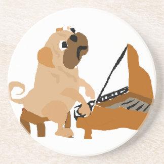 Dessous De Verre En Grès Chien drôle de carlin jouant le piano