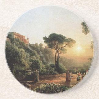 Dessous De Verre En Grès Collection vintage - peinture de paysage