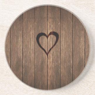 Dessous De Verre En Grès Copie de coeur brûlée par bois rustique