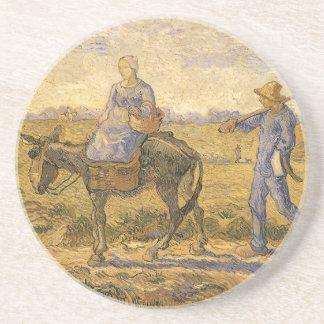 Dessous De Verre En Grès Couples ruraux allant travailler à côté de Vincent