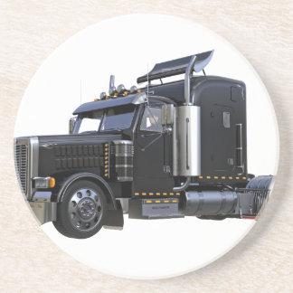 Dessous De Verre En Grès De noir camion de remorque de tracteur semi
