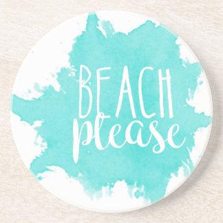 Dessous De Verre En Grès De plage blanc svp