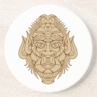 Dessous De Verre En Grès dessin Cinq-eyed de tête de monstre