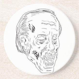 Dessous De Verre En Grès Dessin fermé de yeux principaux de zombi